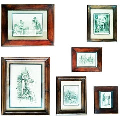 Antique Frames with Engravings, Lot of 6