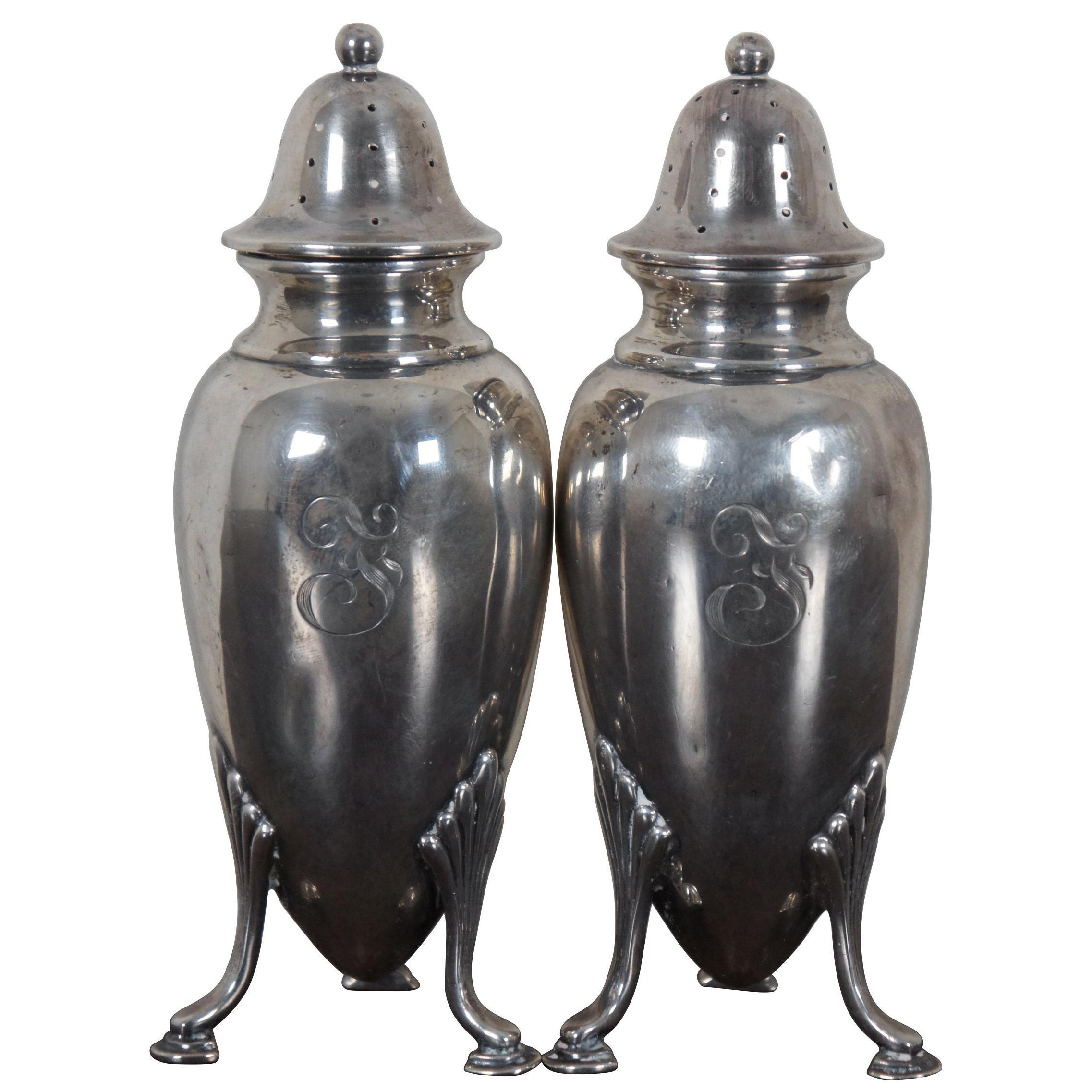 Antique Frank Herschede Co Sterling Silver Footed Salt & Pepper Shakers 5409