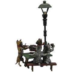 Antique Franz Bergman Austrian Vienna Bronze Cold Paint Cat and Dog Bar Scene