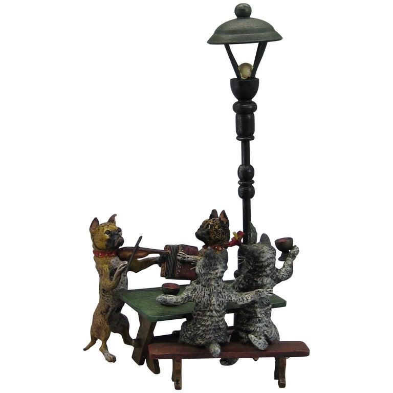 Antique Franz Bergman Austrian Vienna Bronze Cold Paint Cat and Dog Bar Scene For Sale