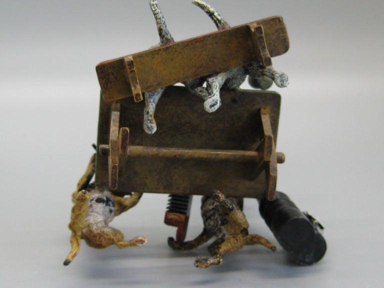 Antique Franz Bergman Austrian Vienna Bronze Cold Paint Cat and Dog Bar Scene For Sale 7
