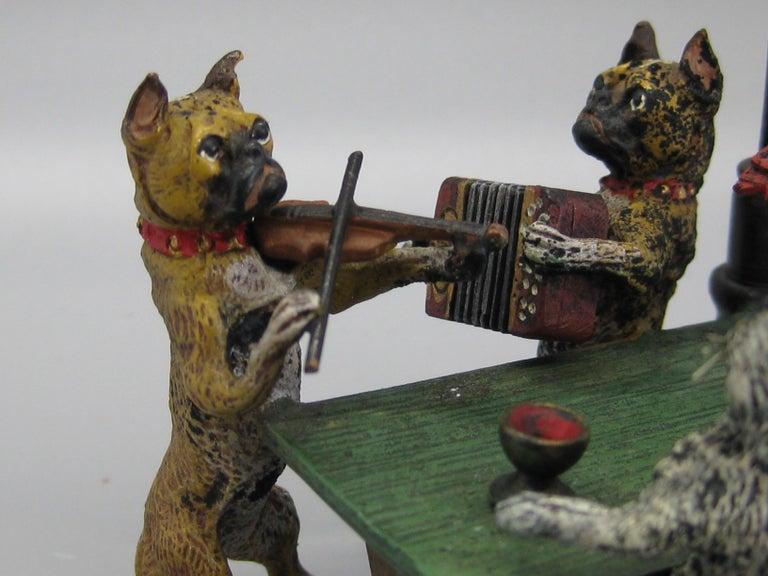 20th Century Antique Franz Bergman Austrian Vienna Bronze Cold Paint Cat and Dog Bar Scene For Sale