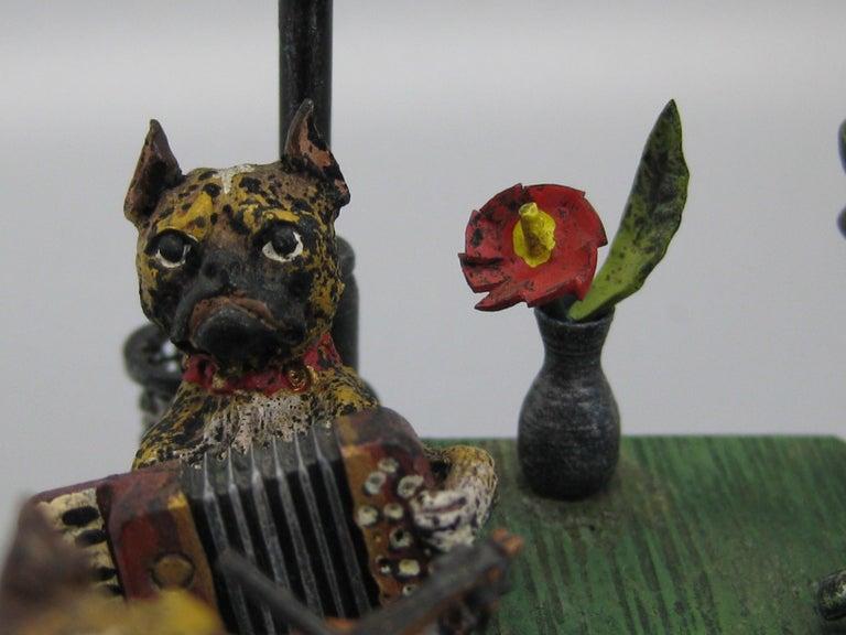 Antique Franz Bergman Austrian Vienna Bronze Cold Paint Cat and Dog Bar Scene For Sale 1