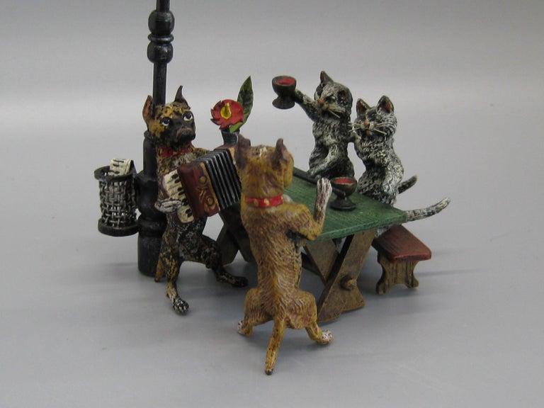 Antique Franz Bergman Austrian Vienna Bronze Cold Paint Cat and Dog Bar Scene For Sale 2