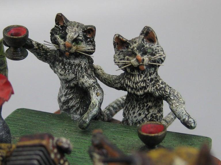 Antique Franz Bergman Austrian Vienna Bronze Cold Paint Cat and Dog Bar Scene For Sale 3