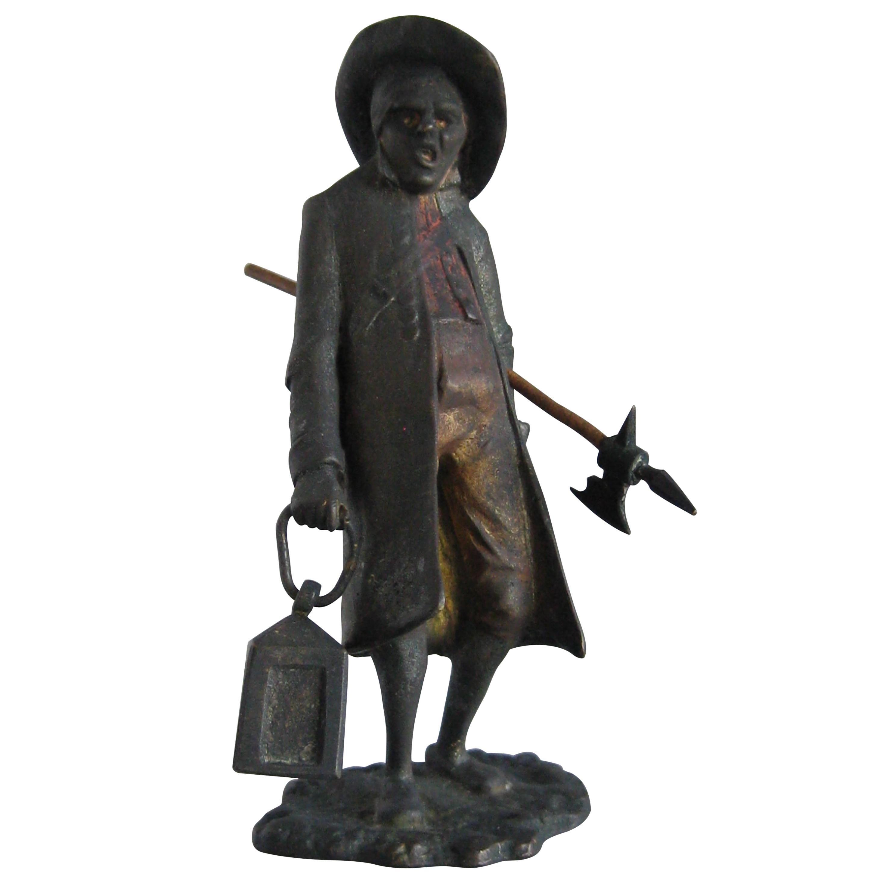 Antique Franz Bergman Austrian Vienna Bronze Cold Paint Night Watchman Figure