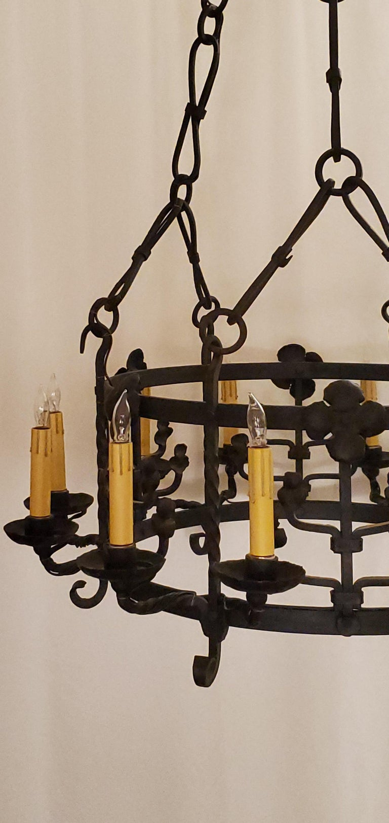 20th Century Antique French 12-Light Wrought Iron Chandelier For Sale