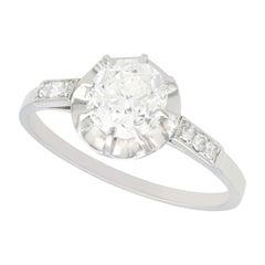 Antique French 1.22 Carat Diamond and Platinum Solitaire Ring, Circa 1920