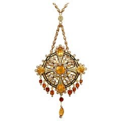 Antique French 12.85Ct Citrine 3.49Ct Diamond Enamel and Gold Pendant