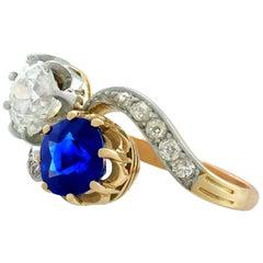 Antique French 1.55 Carat Sapphire 1.34 Carat Diamond Yellow Gold Twist Ring