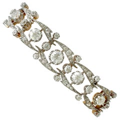 Antique French 17.35 Carat Diamond and Yellow Gold Bracelet, circa 1910