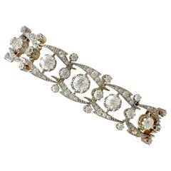 Antique French 17.35 Carat Diamond and Yellow Gold Bracelet