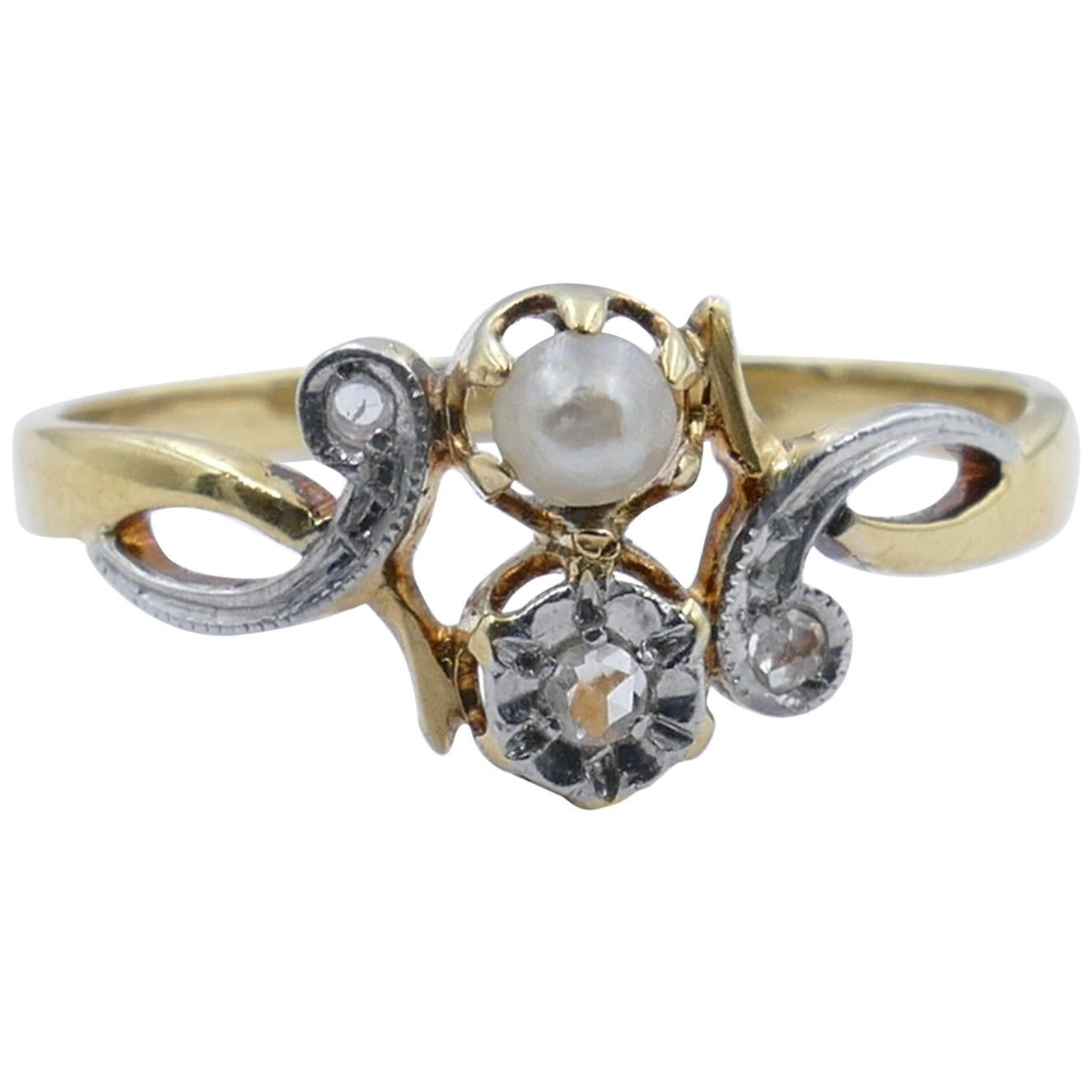 Antique French 18 Carat Yellow and White Gold Pearl and Diamond Ring