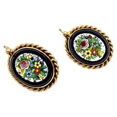 Antique French 18 Karat Dangling Earrings Roman Micro Mosaic Flower Bouquets