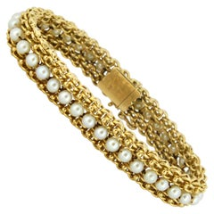 Antique French 18 Karat Gold Ladies Bracelet with Freshwater Pearls 19th Century