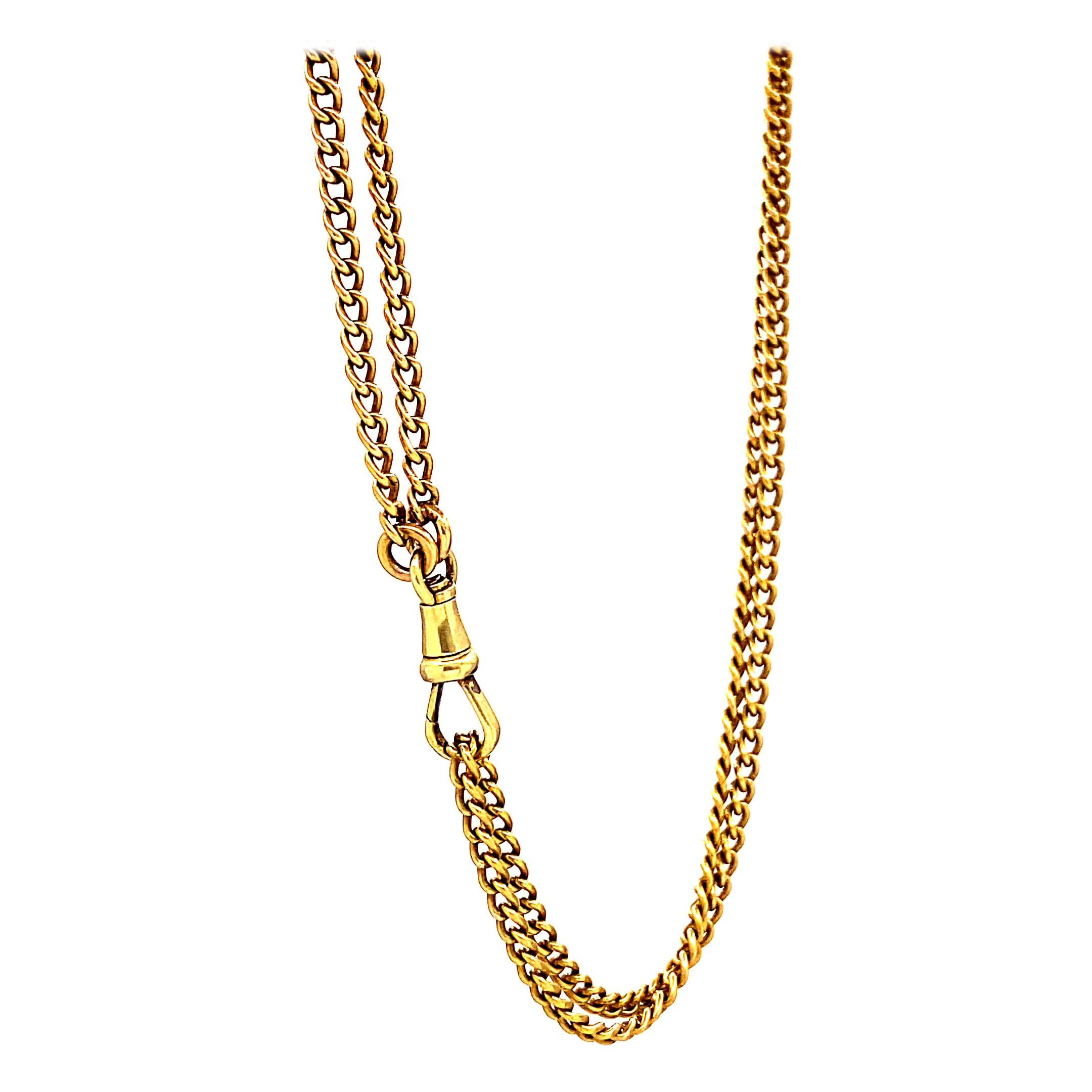Antique French 18 Karat Gold Long Guard Chain