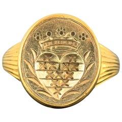 Antique French 18 Karat Gold Royal Seal Ring, 18th Century, circa 1780
