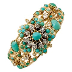 Antique French 18 Karat Yellow Gold Turquoise and Diamond Flower Floral Bracelet