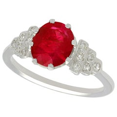 Antique French 1.80 Carat Ruby and Diamond White Gold Dress Ring