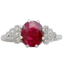 Antique French 1.80 Carat Ruby and Diamond, White Gold Dress Ring