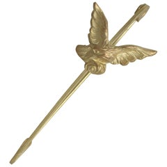 Antique French 1890s 18 Karat Yellow Gold 'Eagle' Pin Brooch