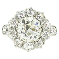 Antique French 18k Gold and Platinum 2.39ct Mine Cut Diamond Flower Cluster Ring