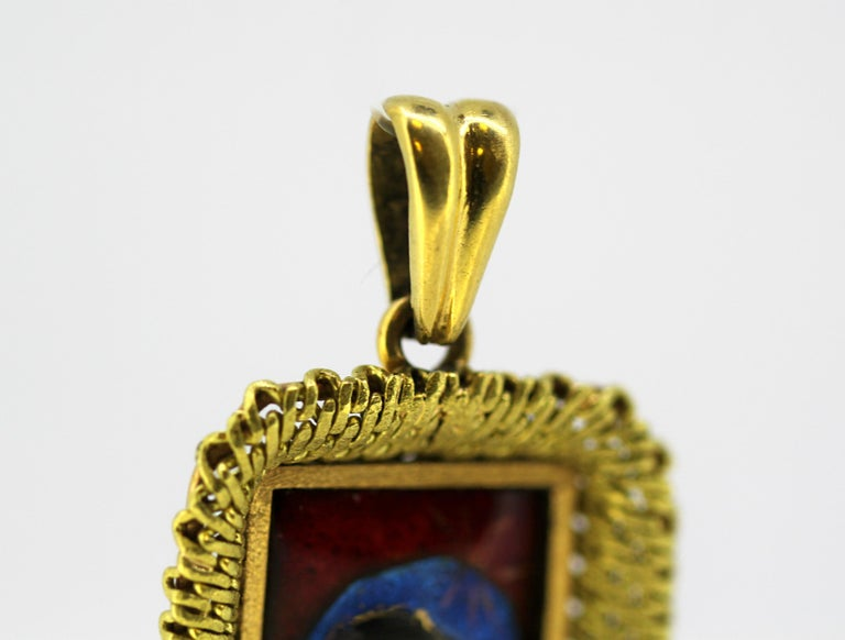 Antique French 18k gold enamel portrait pendant. Made in France, early 20th century. Hallmarked with eagles head, French standard for 18k gold.  Approx Dimensions -  Size : 4.2 x 2.4 x 0.4 cm Weight : 11 grams total  Condition: Pre-owned, no damage,