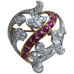 Antique French 18 Karat/ Platinum Diamond and Ruby Heart Pin/ Brooch/ Pendant
