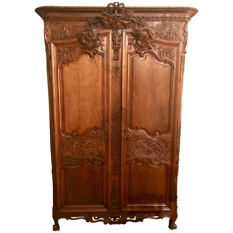 Antique French 18th Century Carved Oak Armoire, circa 1760 ...