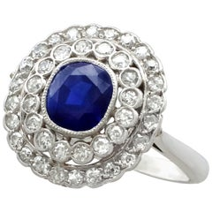 Antique French 1.90 Carat Sapphire 1.10 Carat Diamond White Gold Cluster Ring