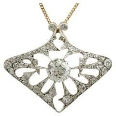 Antique French 1900s 4.21 Carat Diamond and Yellow Gold Pendant / Brooch