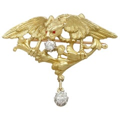 Antique French 1900s Diamond and Yellow Gold Griffin Brooch