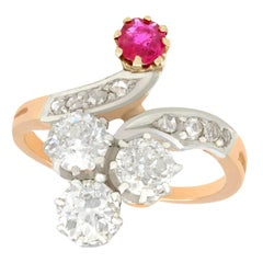 Antique French 1910s 1.71 Carat Diamond and Ruby Yellow Gold Twist Ring