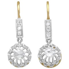 Antique French 1910s Diamond and Yellow Gold Drop Earrings