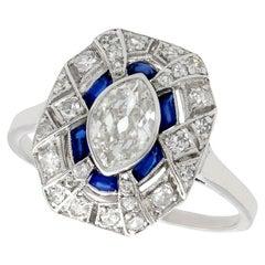 Antique French 1920s 1.39 Carat Diamond and Sapphire Platinum Dress Ring