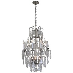 Antique French 1920s Crystal and Silver Chandelier