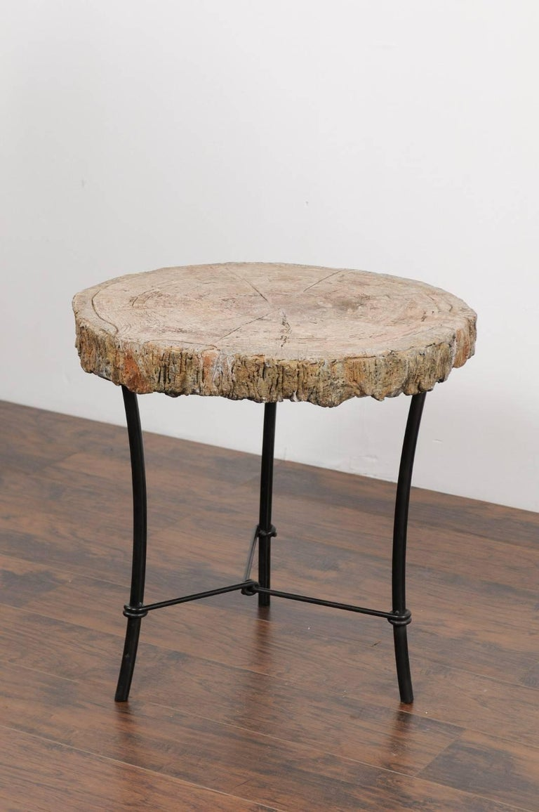 Antique French 1920s Faux Bois Stone Round Side Table On