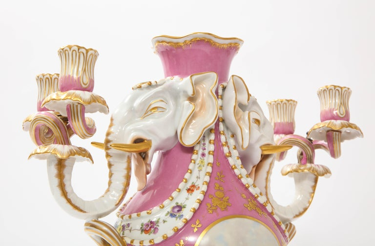 Antique French 19th C Pink Ground Sevres Style 3-Piece Pot-Pourri/Candelabra Set For Sale 5