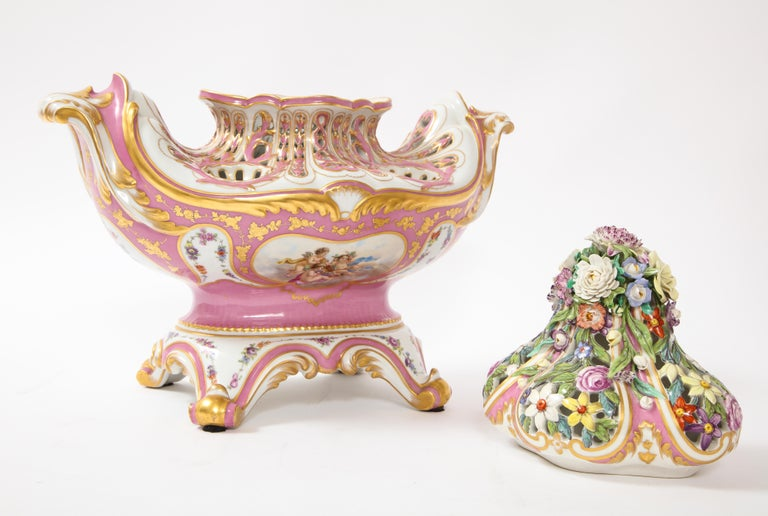 Antique French 19th C Pink Ground Sevres Style 3-Piece Pot-Pourri/Candelabra Set For Sale 6