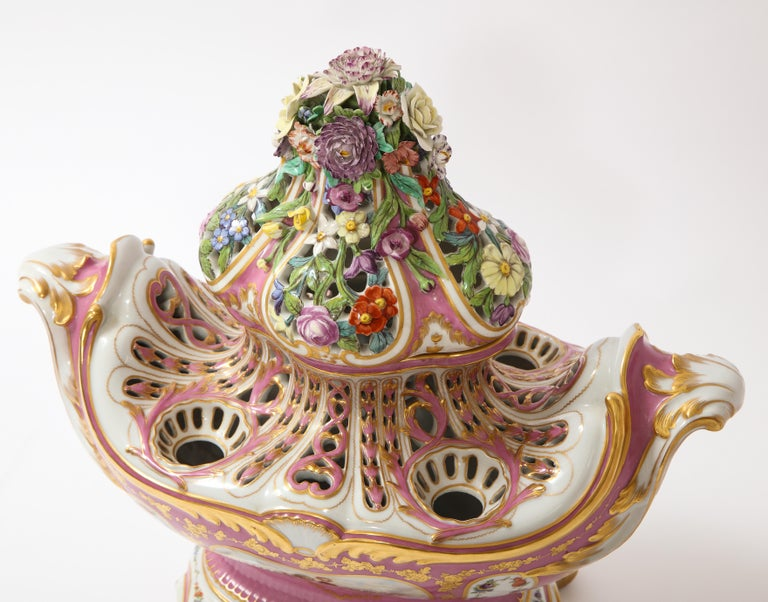 Antique French 19th C Pink Ground Sevres Style 3-Piece Pot-Pourri/Candelabra Set For Sale 9