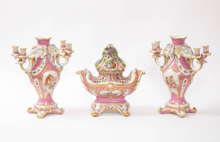 Gilt Antique French 19th C Pink Ground Sevres Style 3-Piece Pot-Pourri/Candelabra Set For Sale