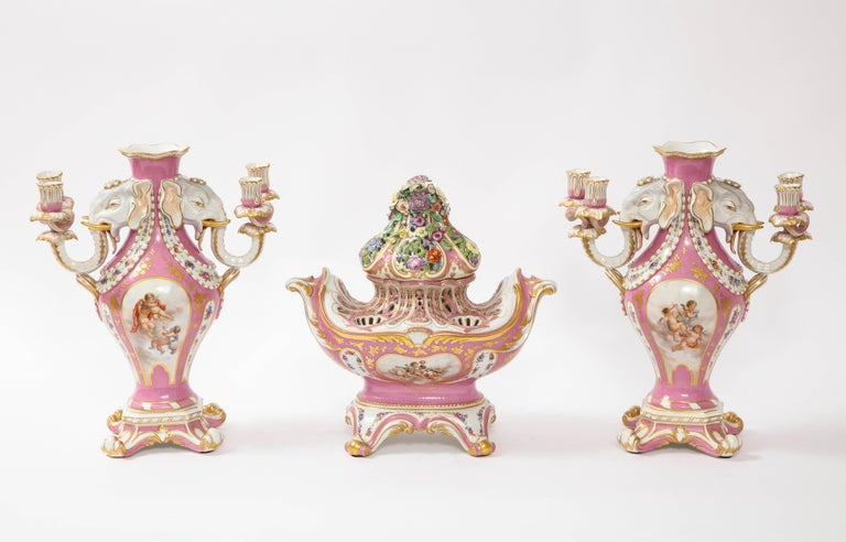 Antique French 19th C Pink Ground Sevres Style 3-Piece Pot-Pourri/Candelabra Set In Good Condition For Sale In New York, NY