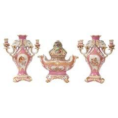 Antique French 19th C Pink Ground Sevres Style 3-Piece Pot-Pourri/Candelabra Set