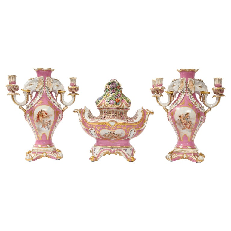 Antique French 19th C Pink Ground Sevres Style 3-Piece Pot-Pourri/Candelabra Set For Sale
