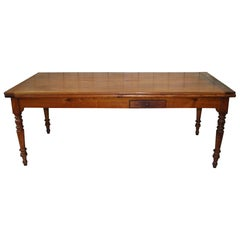 Antique French 19th Century Cherrywood Extending Farmhouse Kitchen Dining Table