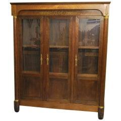 Antique French 19th Century Empire Mahogany Vitrine/ Open Bookcase