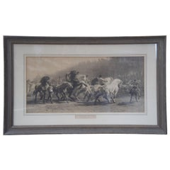 """Antique French 19th Century Equestrian Horse Fair Etching by Rosa Bonheur 36"""""""