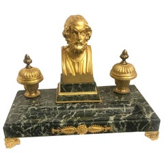 Antique French 19th Century Gilt Bronze and Marble Double Inkwell Ink Stand