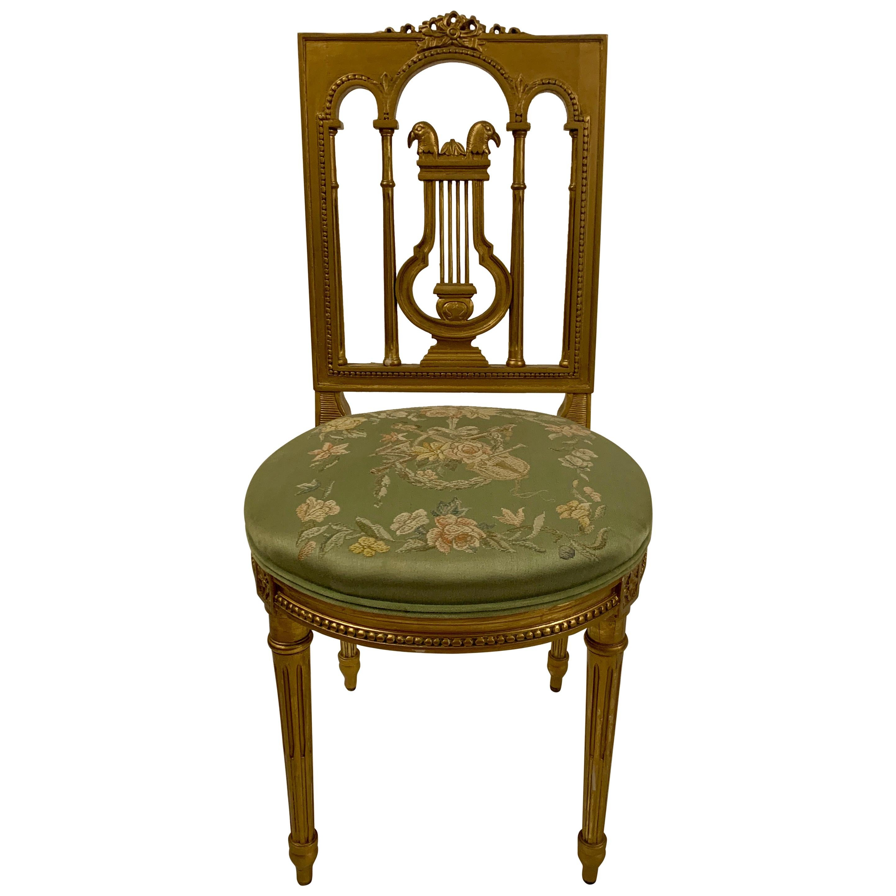 Antique French 19th Century Louis XVI Gilt Side Chair, circa 1880