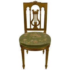 Antique French 19th Century Louis XVI Gilt Side Chair, circa 1880